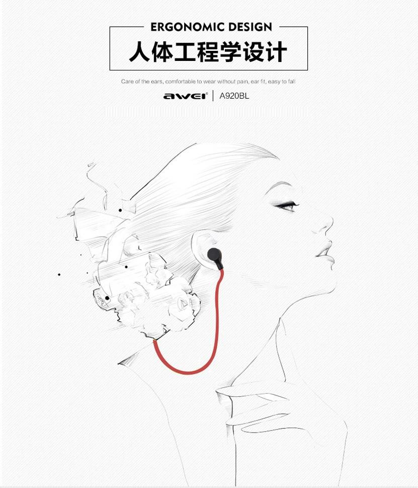 Awei A920BL Wireless Sports Headphone Stereo Earphones