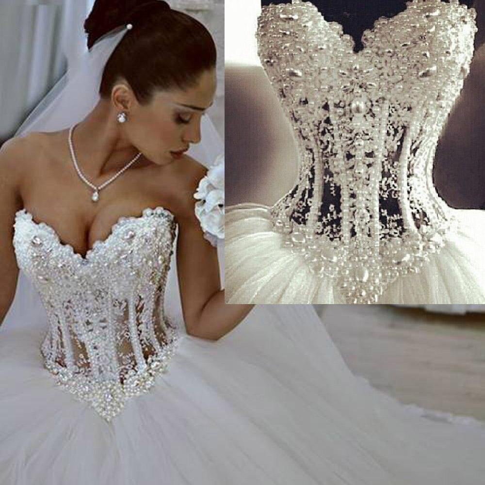 Wonderful Pearls Corset Lace Ball Gown Wedding Dresses White 2016 Sweetheart Lace Bridal Dress