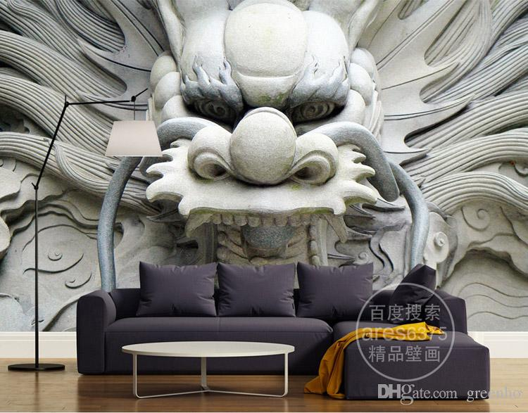 3d Dragon Photo Wallpaper Custom Wallpaper Stone Carving