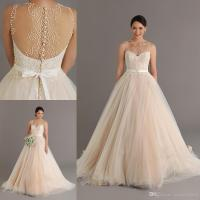 Dreaming 2015 Champagne Wedding Dresses With Pearls Sheer ...