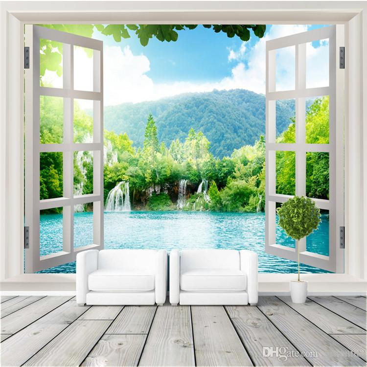 wall stickers living room cheap tables sets window 3d waterfalls forest view art mural ...