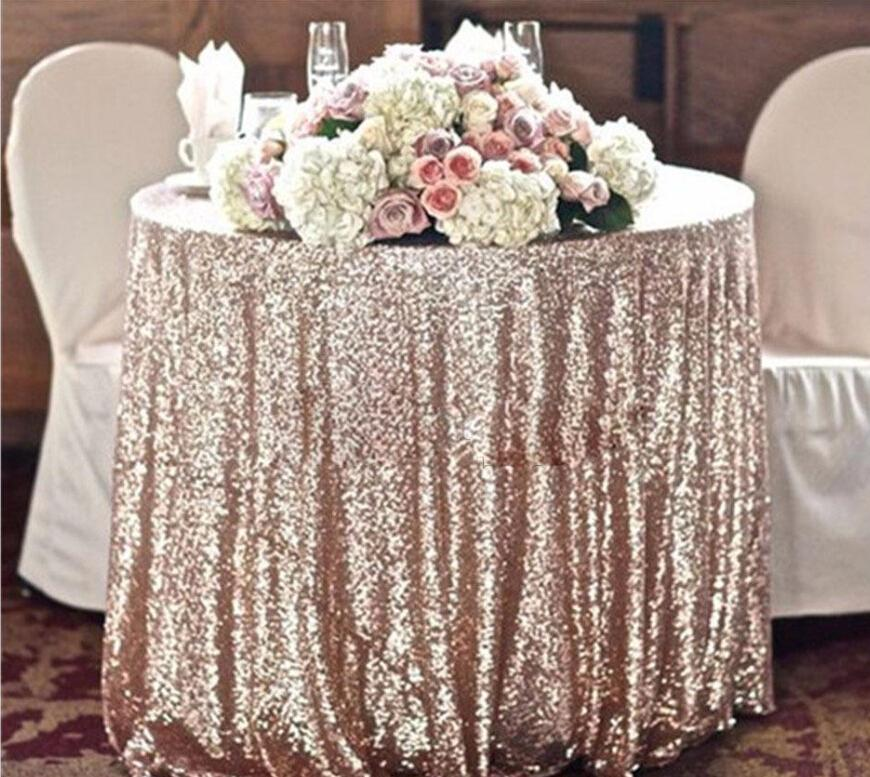Cheap 80 Inches Personalized Table Cloth Gold Sequin Round Table Cloth Sparkly Champagne Tablecloth Elegant Wedding