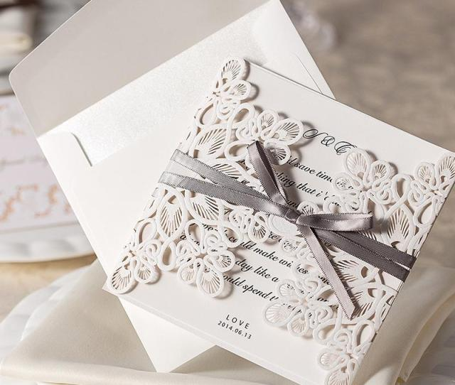 Customizable Hollow Lace Wedding Invitation Card With Supplies Free Printable Cards Foil Stamping Laser Cut Wedding Invitations Wedding Invitation Wordings