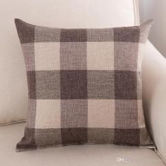 Pillow Covers For Living Room Decorations Walls Classic Large Lattice Pillowcase Natural Linen Home Decorative Plaid Cover Bed Office Cushion 45 45cm Outdoor Seat Cushions On Sale