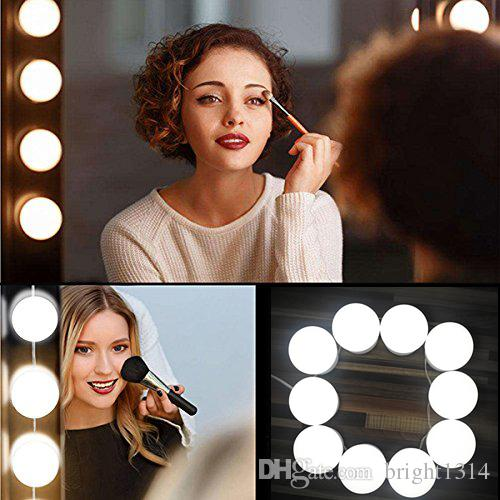 2019 hollywood led dimmable mirror makeup light bulbs with hidden rotating fixture strip for bathroom vanity lighting dressing cosme from bright1314