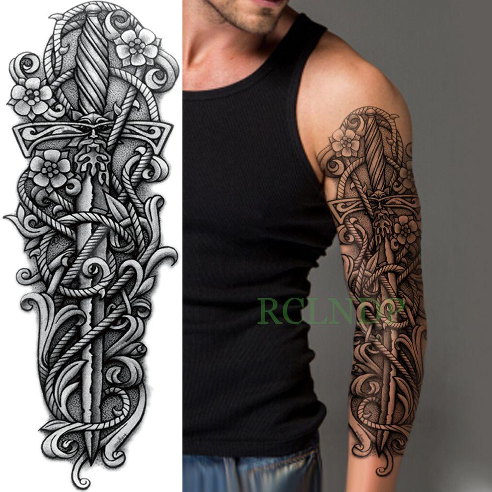 Impermeable Etiqueta Engomada Del Tatuaje Temporal Brazo Completo De