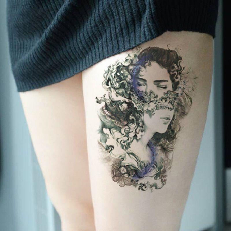 1 Unidad Etiqueta Engomada Del Tatuaje Temporal Rosas Negras Diseño