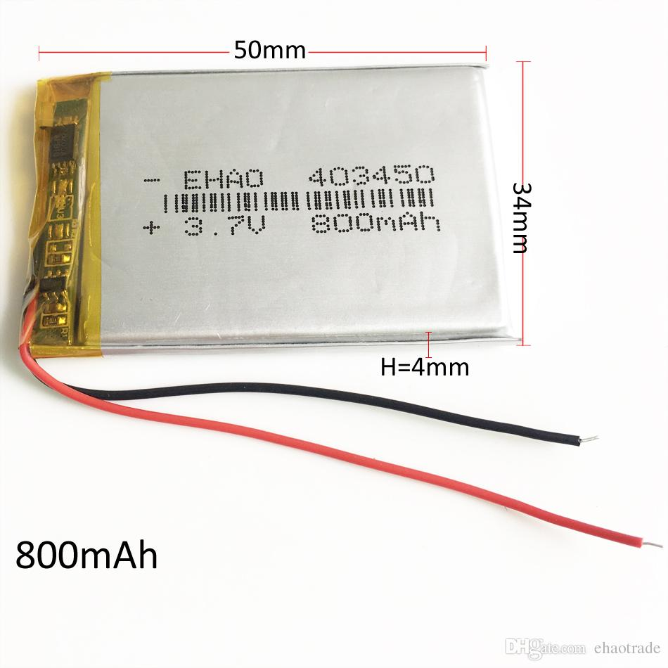 medium resolution of 403450 3 7v 800mah battery lithium ion li po rechargeable battery cells for mp3 gps psp pocket e books bluetooth recorder pen rc battery packs replacement