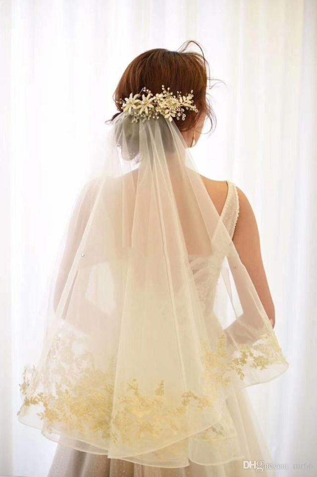 1t champagne wedding 1.5meters long ivory 2019 lace floral bridal veil long shining bridal hair accessories