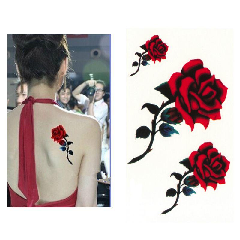 Sexy Rosa Roja Diseño Mujeres Impermeable Cuerpo Brazo Arte Tatuajes
