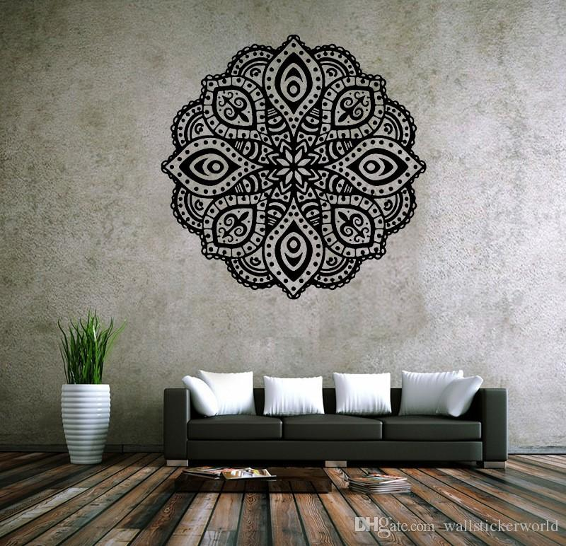 large wall stickers for living room india choosing paint colours buddhist art mandala removable waterproof home decoration decal walls white tree from