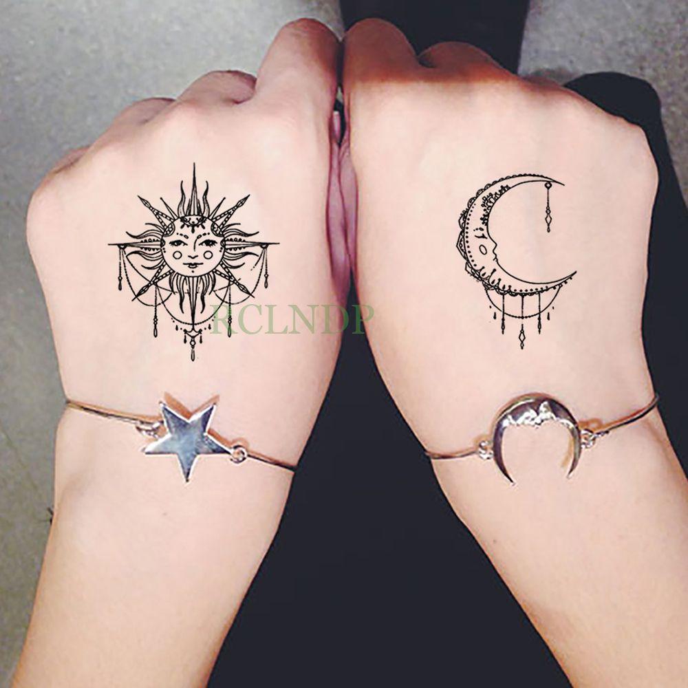 Impermeable Etiqueta Engomada Del Tatuaje Temporal Sol Luna Falso Tatto Flash Tatoo Tatouage Muñeca Pie Brazo De La Mano Para Mujeres Mujeres Hombres