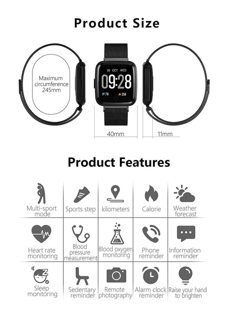 Y7 Smart Bracelet Blood Pressure Oxygen Sport Fitness