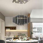 Luxury Modern Smoky Gray Crystal Chandelier Lighting For Dining Room Living Room Black Chandelier Light Fixtures Lustres De Teto Plug In Hanging Lamps