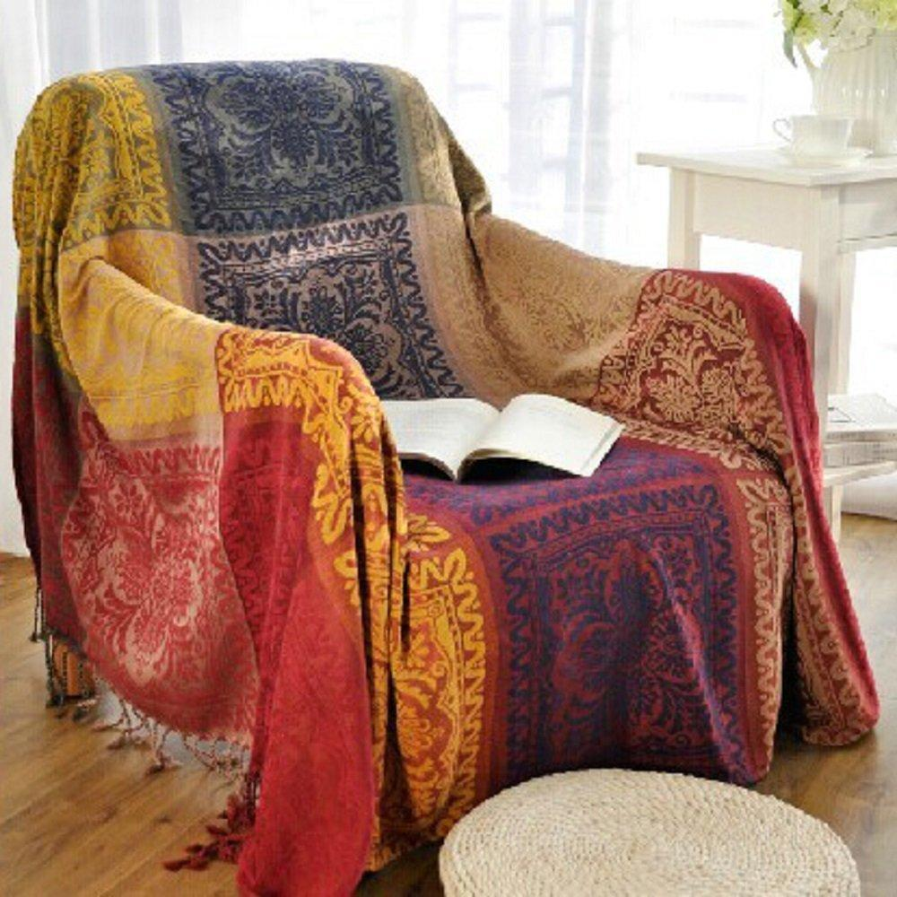 Chair Throw Covers 220cm X 250cm Chenille Jacquard Tassels Throw Blanket Sofa Chair Cover Tablecloth Colorful Tribal Pattern