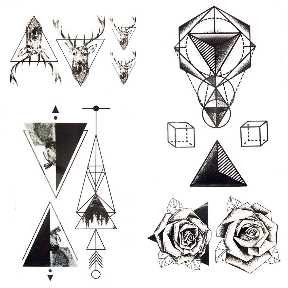 Pequeño Geometría Triángulo Flechas De Tatuaje Temporal Cuadrados