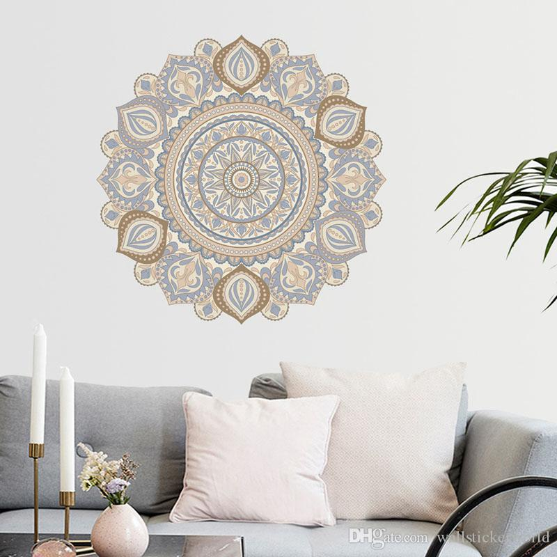 large wall stickers for living room india small rooms with fireplaces colorful mandala flower indian bedroom decal art mural home decor big family decoration decals