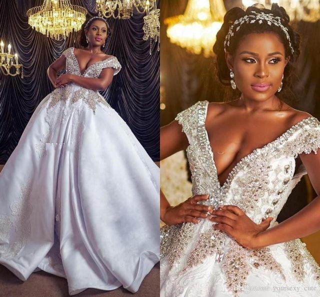 luxurious crystal beaded dubai arabic wedding dresses v neck lace appliques crystal beaded african satin plus size wedding dress capped abri
