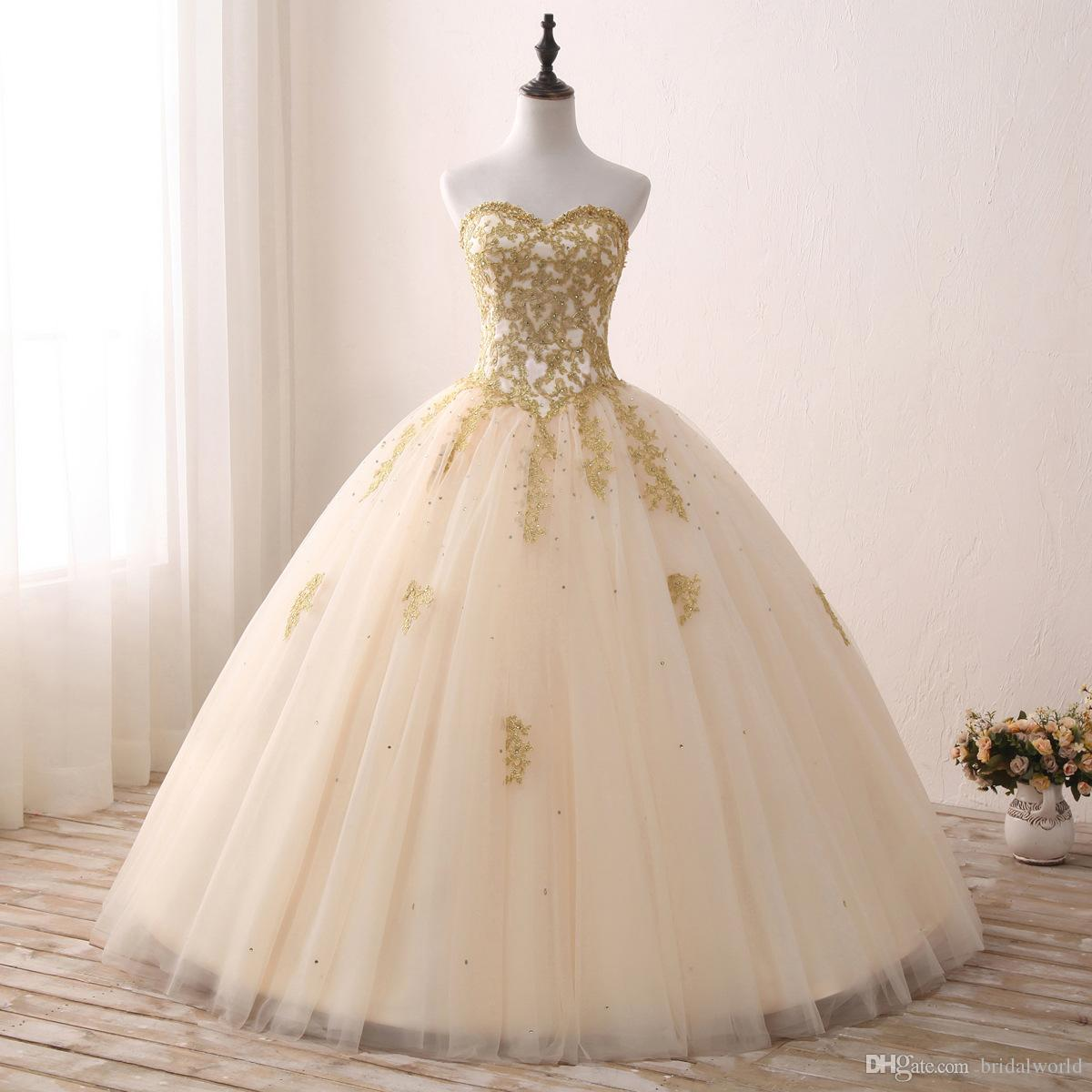 2017 quinceanera dresses gold