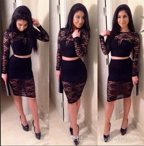 2015 Women Sexy Two Piece Lace Bandage Dress Long Sleeve Black ...
