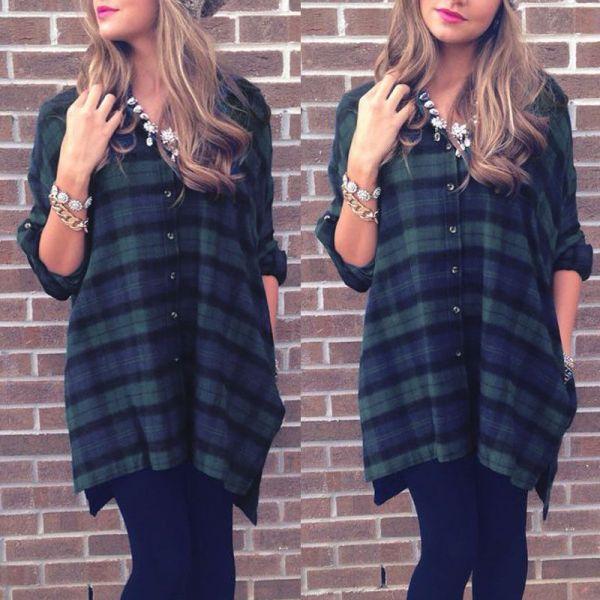 Online Cheap Classical Plaid Check Shirts 2015 Autumn Hot Women Blusas Elegant Long Blouse