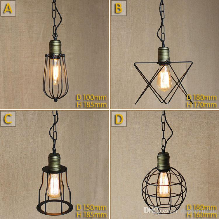 Vintage Small Iron Cages Pendant Lighting Ceiling Lamp American