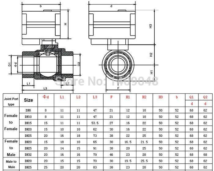 3/4 Dn20 12v Dc Brass Motorized Ball Valve,2 Way