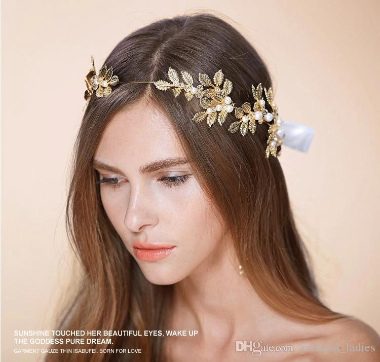 gold leaves wedding tiaras hairband bridal hair accessories no fading factory wholesale bridal accessories ancient crown boho accessorie wedding flower hair