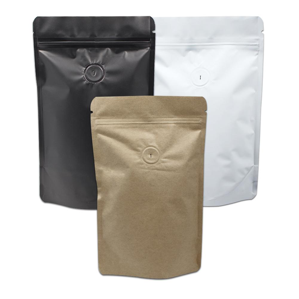 2018 Matte Black White Pure Aluminum Foil Coffee Bag Stand