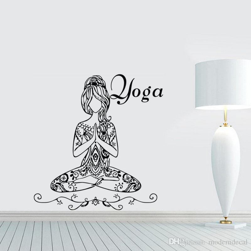 Compre Yoga Lotus Pose Pegatinas De Pared Palabras Gimnasio
