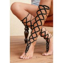 2018 Black Crochet Leg Gladiator Style Lace Cotton
