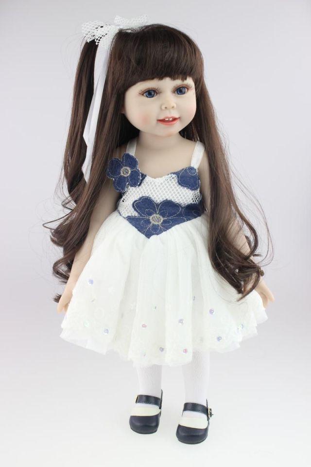 18 45cm fashion cute semi-soft vinyl american doll education toy for girls