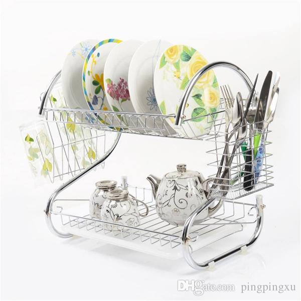 kitchen drying rack table and chairs 2019 2 tiers dish cup drainer dryer tray cutlery holder organimaking your space more neatzer from pingpingxu 32 17 dhgate com