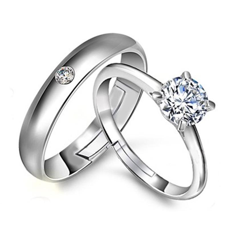 Silver Rings Men 925 Sterling White Gold Plated Women 1 Ct