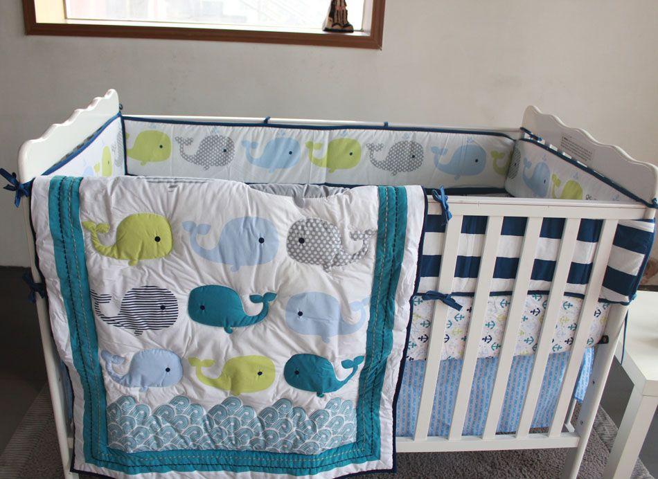 acheter vente chaude ensemble de literie pour bebe broderie 3d ocean baleine literie ensemble de literie 100 coton bedskirt quilt bumper cot ensemble de