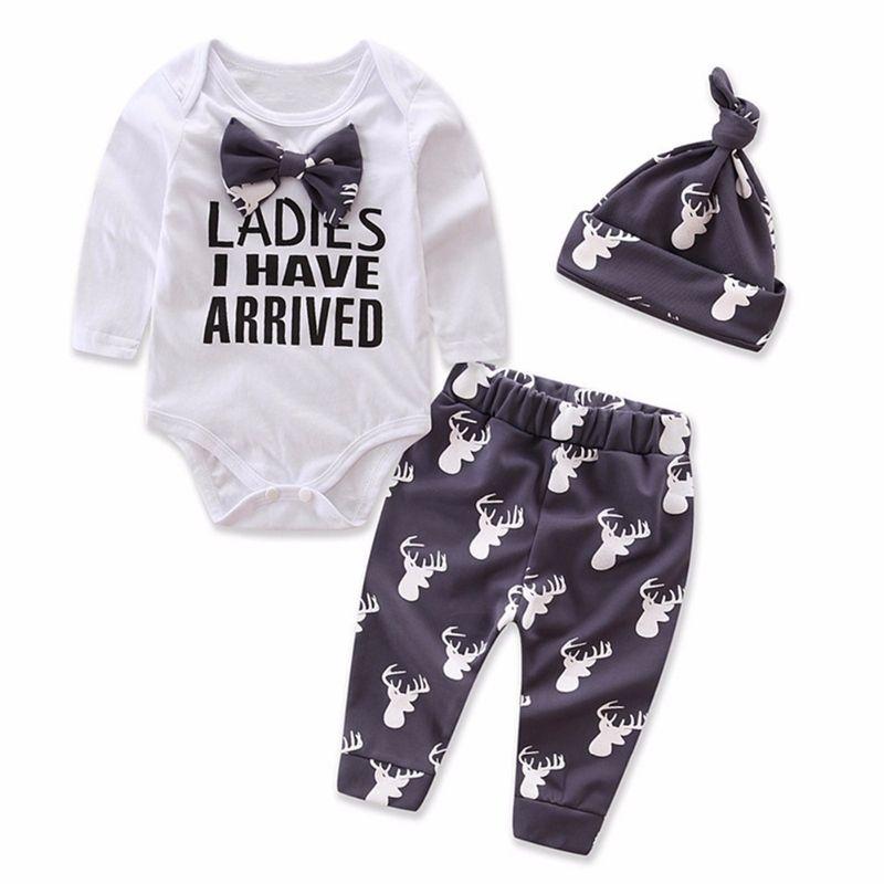 2019 Baby Boy Clothes Christmas Prints Newborn Baby Set