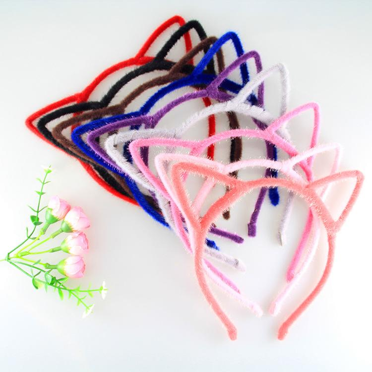 multi color cute fashion leopard solid color hair accessories girls cat ears hair bands headbands lovely colorful hair bands a1347 hair accessories for