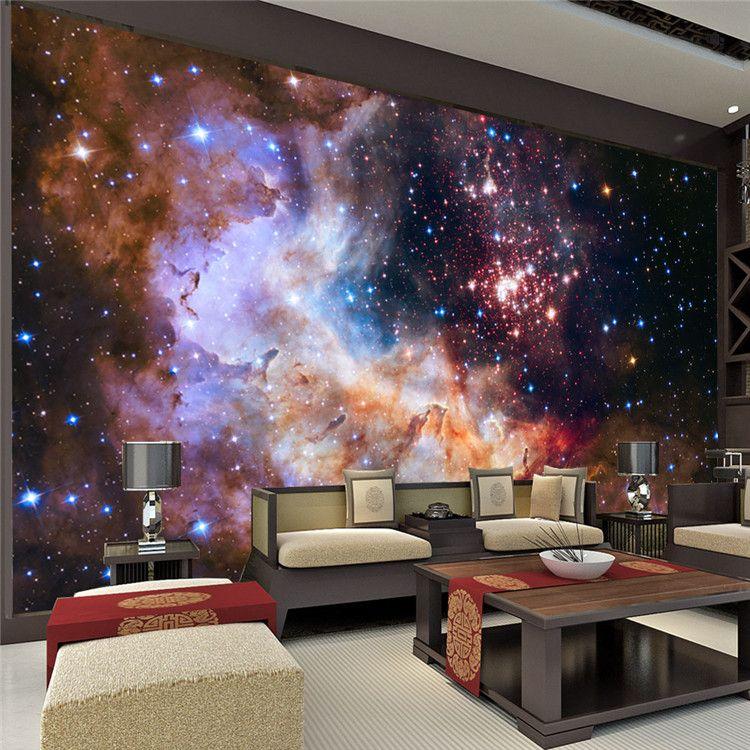 3D Gorgeous Galaxy Photo Wallpaper Custom Silk Wallpaper Starry Night Wall Mural Art Painting