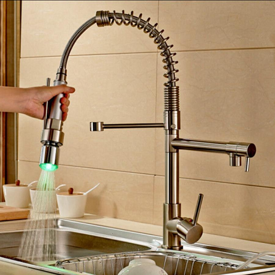 brushed nickel kitchen faucet with sprayer range 2019 wholesale and retail swivel spouts led deck mounted vessel sink mixer tap from gonglangno1 125 63 dhgate com
