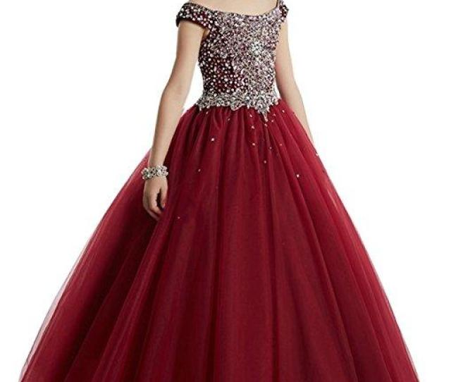 Elegant Beads Sequins Girls Pageant Dresses  Crystal Girl Communion Dress Ball Gown Kids Formal Wear Flower Girls Dresses For Wedding Flower Girls