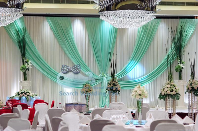 TOP Sale White Wedding Backdrop Curtain With Turquoise Color Drape