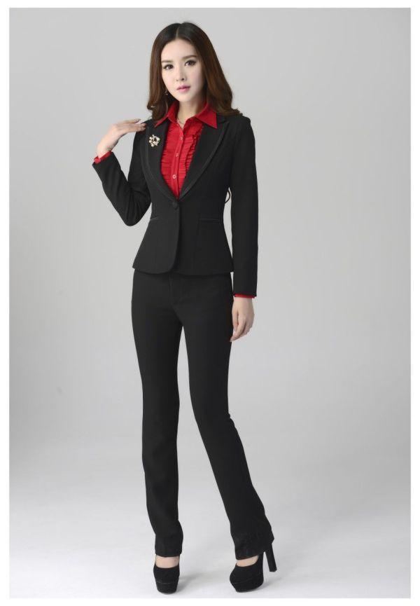 Womens Black Pant Suit Dress Tip