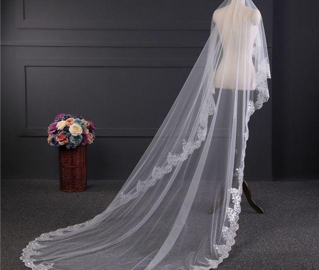 Romantic White Ivory  Meters Wedding Veils Cathedral Veil Lace Edge One Layer Bridal Veil Wedding Accessories Veu De Noiva Diy Bridal Veil Long Bridal