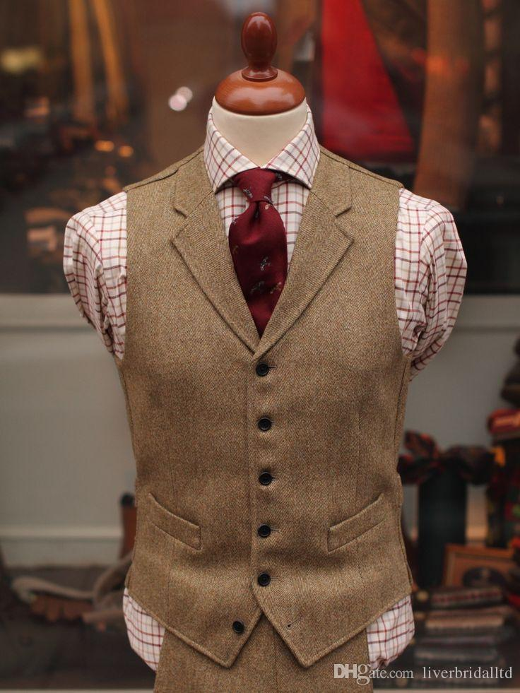 2015 New Tailored Tweed Vest Tuxedos Custom Made Suits Vest Groommens Suits Vest Mens Wedding