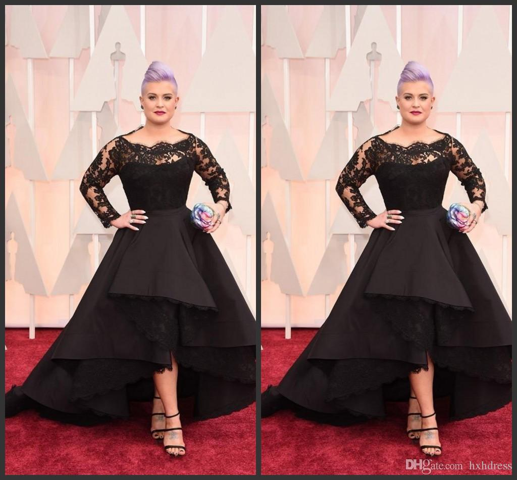 Oscar Roter Teppich 2018 2018 New Long Formal Dresses Oscar Kelly Osbourne Celebrity Black Lace High Low Red Carpet Sheer Evening Dresses Ruffles Party Gowns 428