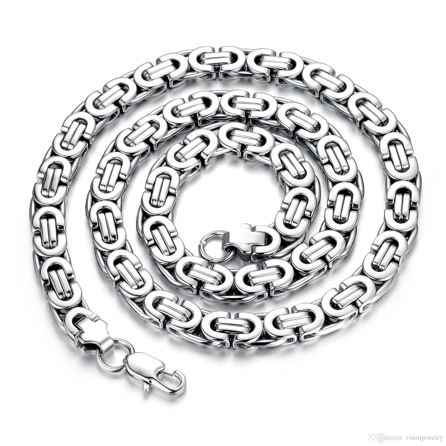 2018 Gold Silver Tone Stainless Steel Necklace Byzantine