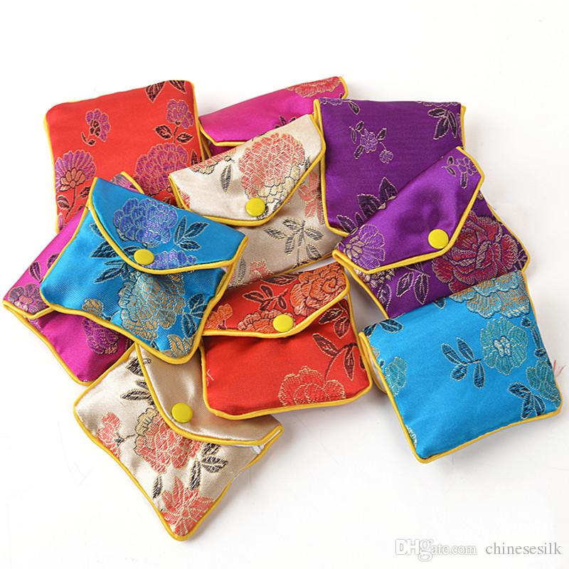 2019 Floral Zipper Coin Purse Pouch Small Gift Bags For