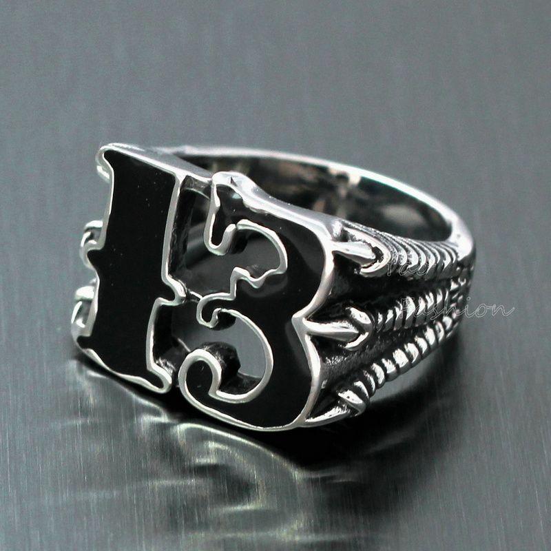 MenS Lucky No 13 Dragon Claw Biker Ring Black Enamel