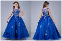 2017 Royal Blue Girls Pageant Dresses Floor Length Crew