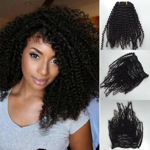 new style brazilian virgin curly hair weft clip in human hair extensions unprocessed natural black/ brown color 7pcs 1set afro kinky curl